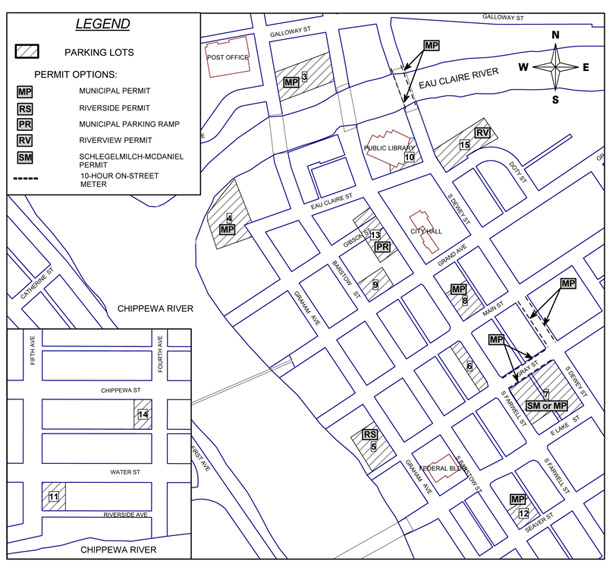 Parking map for Central Downtown