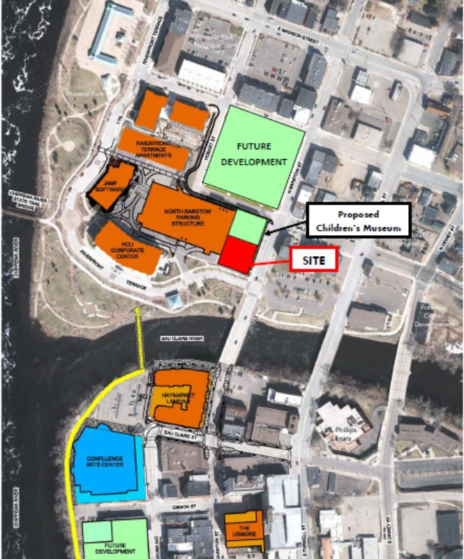 Site in relation to other downtown eau claire developments